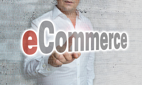 eCommerce with matrix and businessman concept.